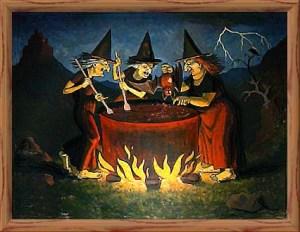 Las tres brujas de Macbeth consultando el futuro en el caldero